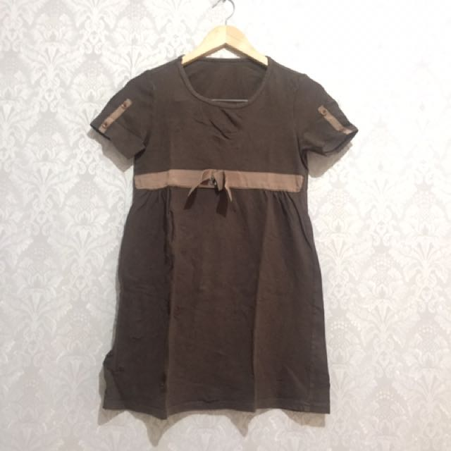 Brown Mini Dress / Daster Kaos Coklat Atasan Bahan Kaos