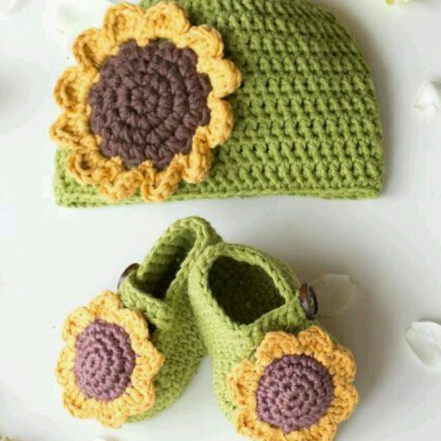 Crochet Shoes And Beanie Set