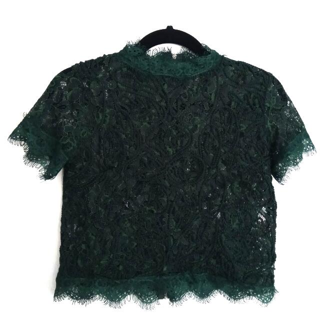 Elegant Zara Emerald Lace Crop Turtleneck Top Sz S