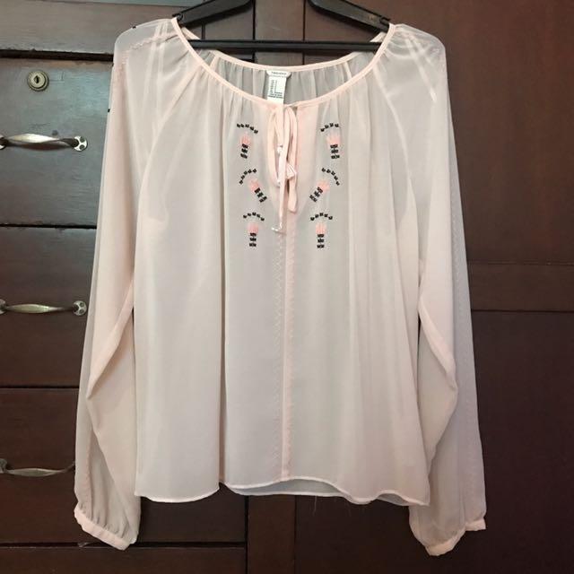 Forever 21 Pink Sheer Long Sleeve Top