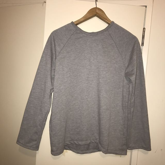 Frill Sleeve Grey Sweatshirt