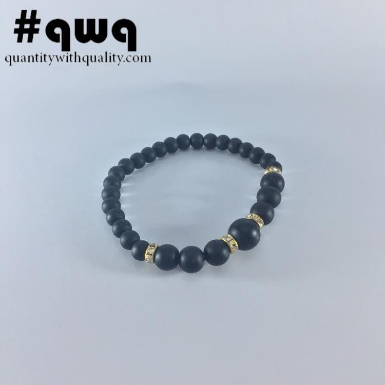 gelang batu casual blackstone and gold charms keren cowok cewek korea