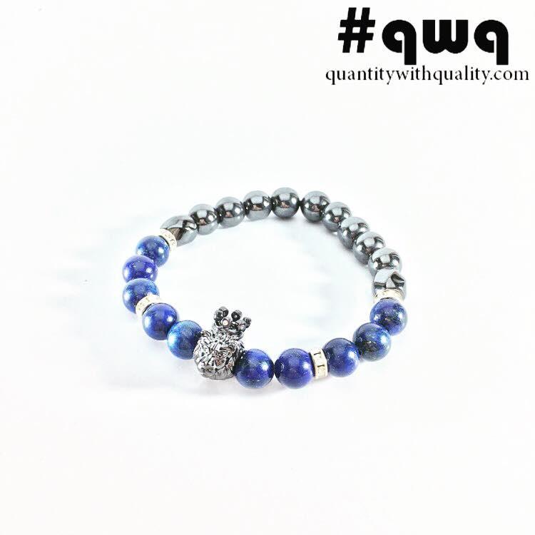 gelang batu cowok lion tiger singa macan lapis lazuli and hematite mac