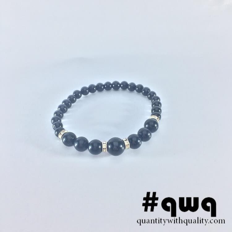 gelang black onyx and silver charms keren cowok cewek bracelet stone