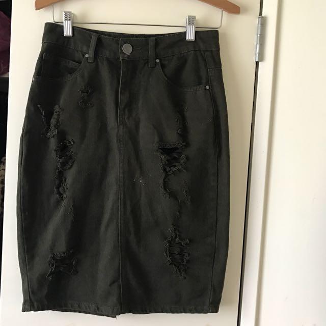Glassons Khaki Denim Skirt