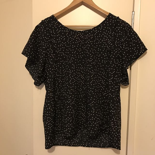 Glassons Polka Dot Frill Sleeve Top