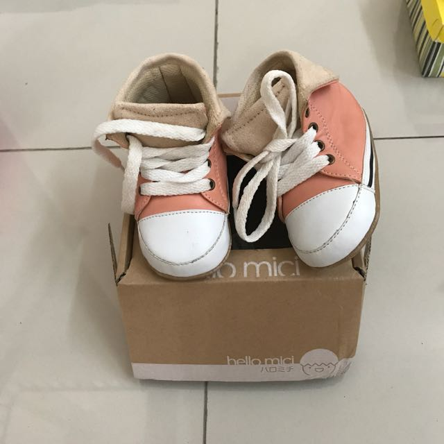 Hello Micci Prewalker Shoes Hi Top Pink