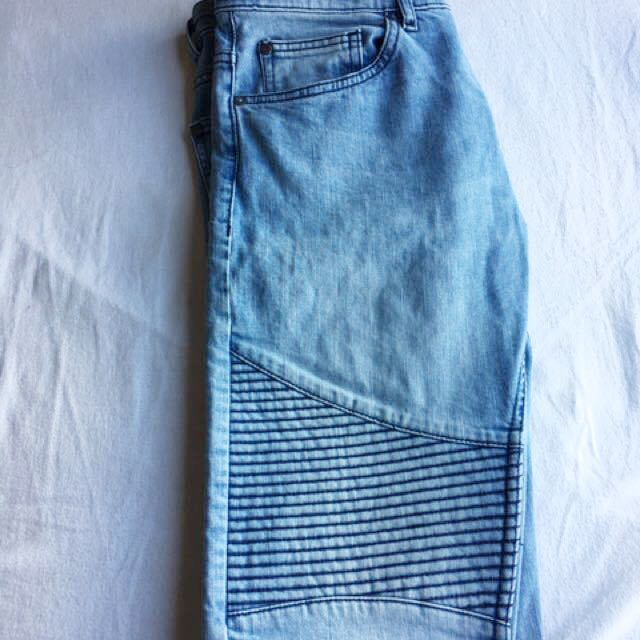H&M - Biker Jeans Light Denim Blue