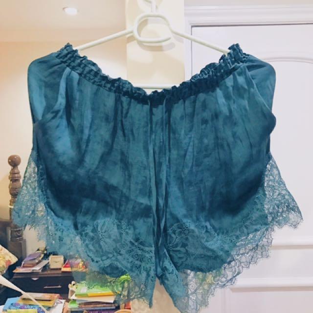 H&M Emerald Drawstring Shorts With Elaborate Lace Hemline