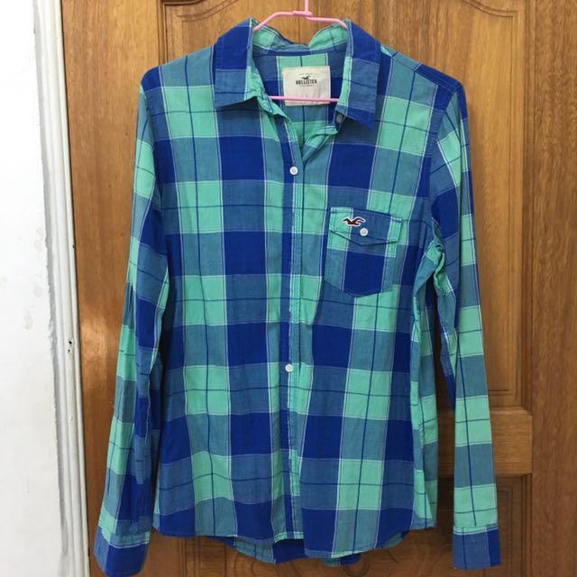 Hollister 藍色格紋襯衫