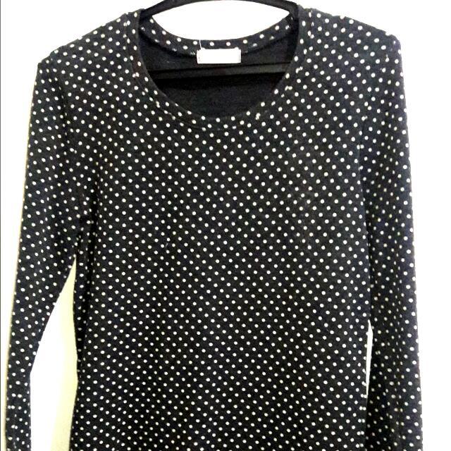 Long Sleeve Polka Dots Top