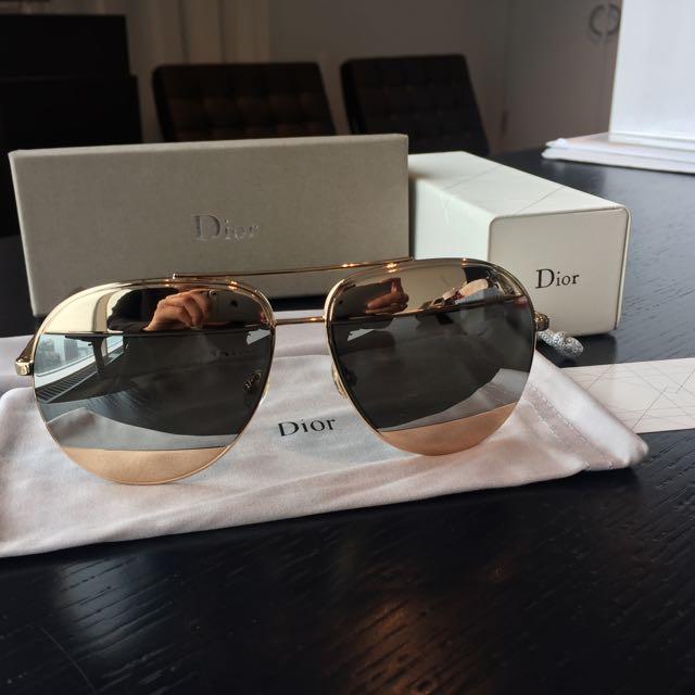 New Christian Dior Split1 Gold Silver 100%UV Mirrored Sunglasses