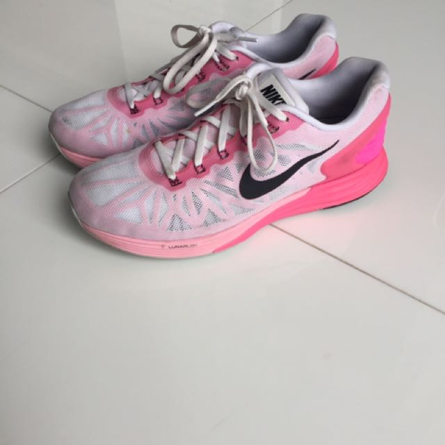 new arrival 78146 ca4af NIKE Lunarglide 6 Bright Pink White Shoes Running Sneakers, Women s ...
