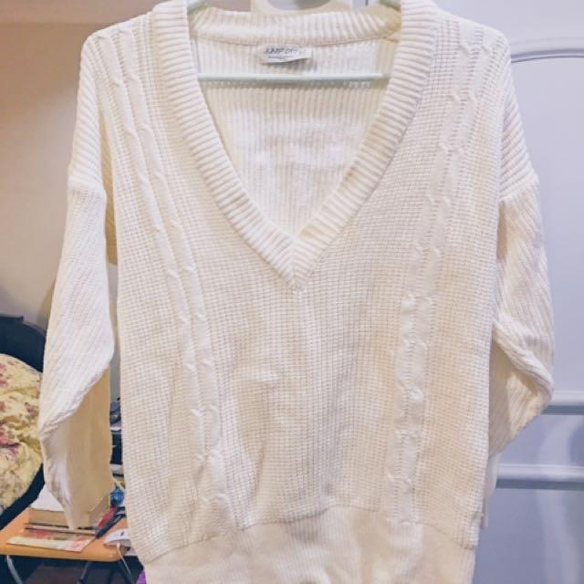 Oversized Cotton V-Neck Sweater