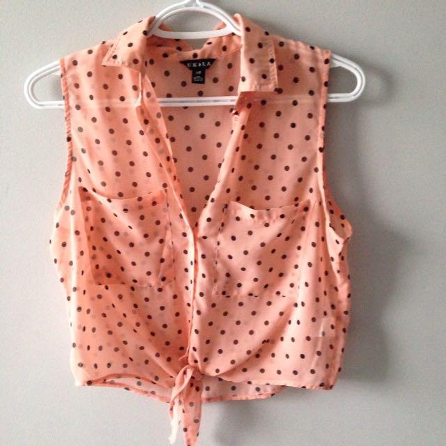 Pink Polkadot Crop Top, Translucent, size s