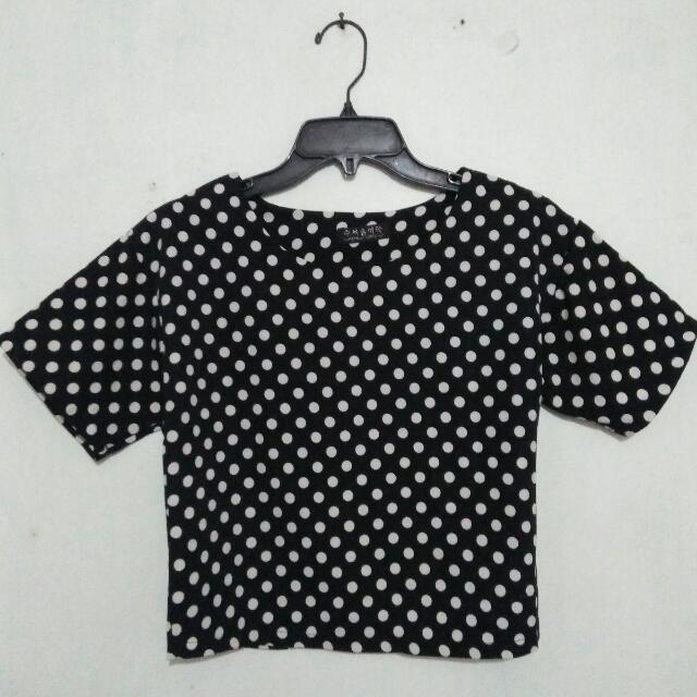Polka Top Semi Crop