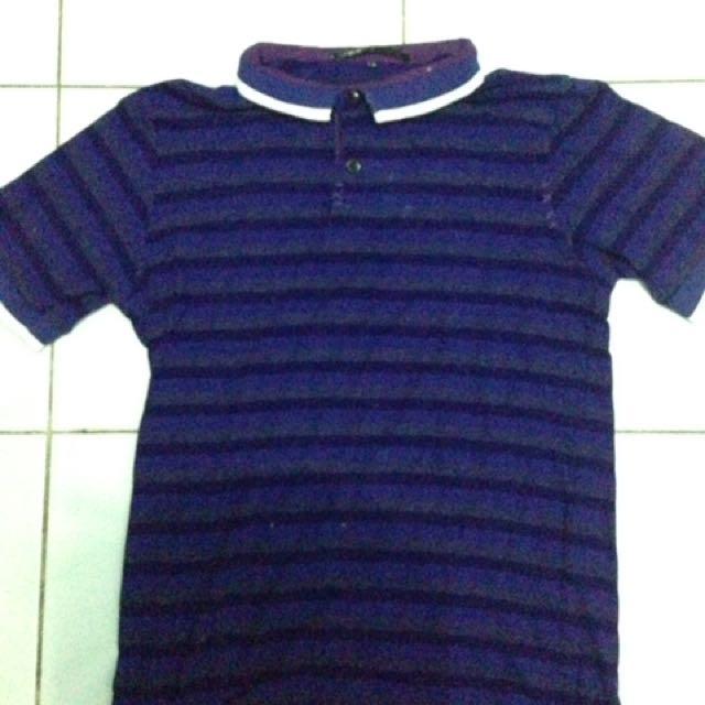 Polo Shirt Loreng Ungu Hitam