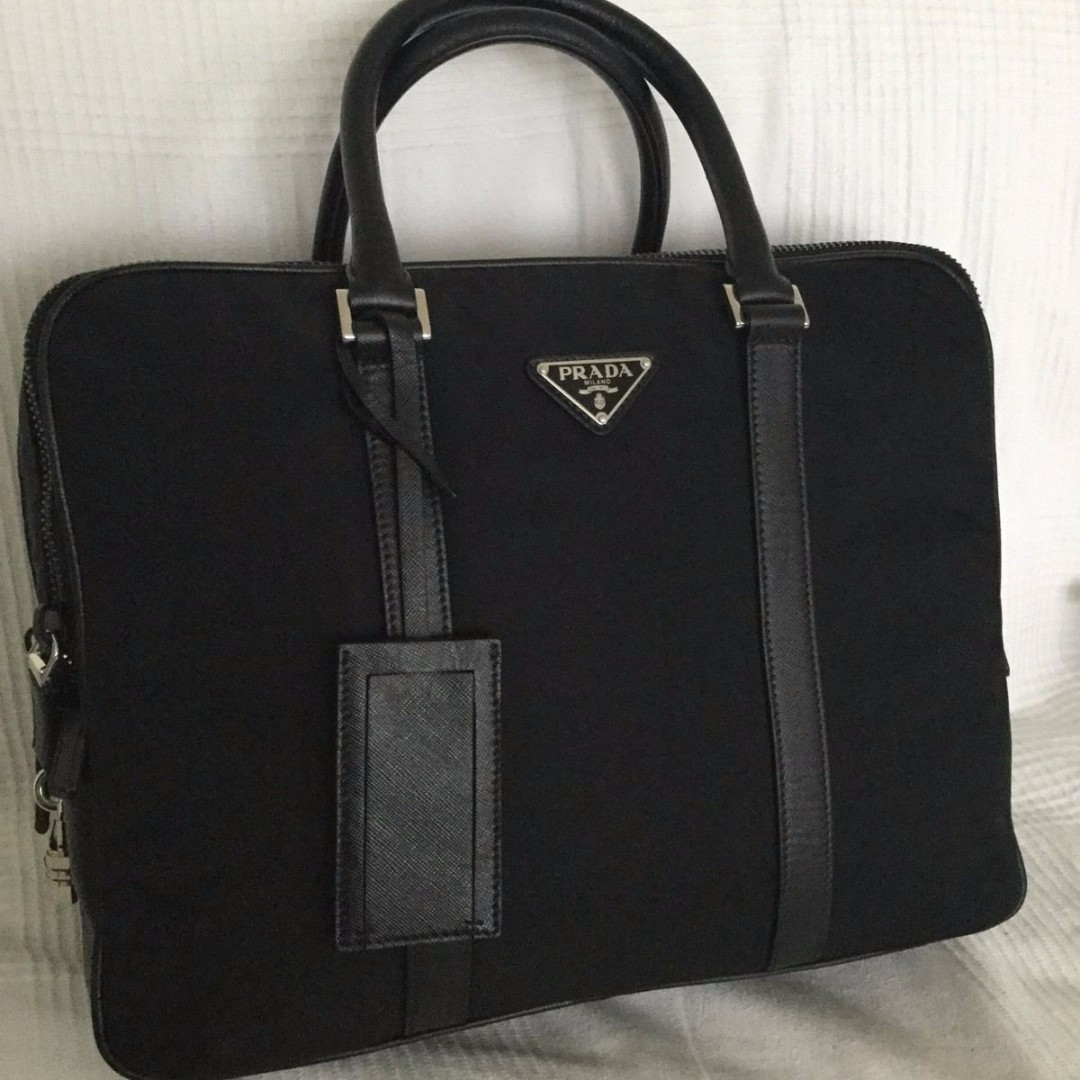9c711fa7e6d6 Prada Nylon Briefcase VA 1030 NERO (Black), Luxury, Bags & Wallets ...