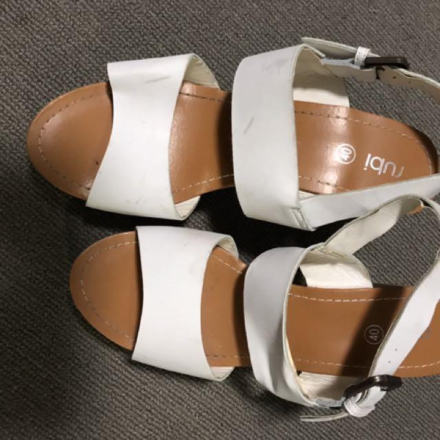 Rubi Shoes White Wedges