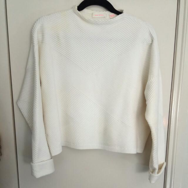 Sass And Bide White Semi Cropped Jumper