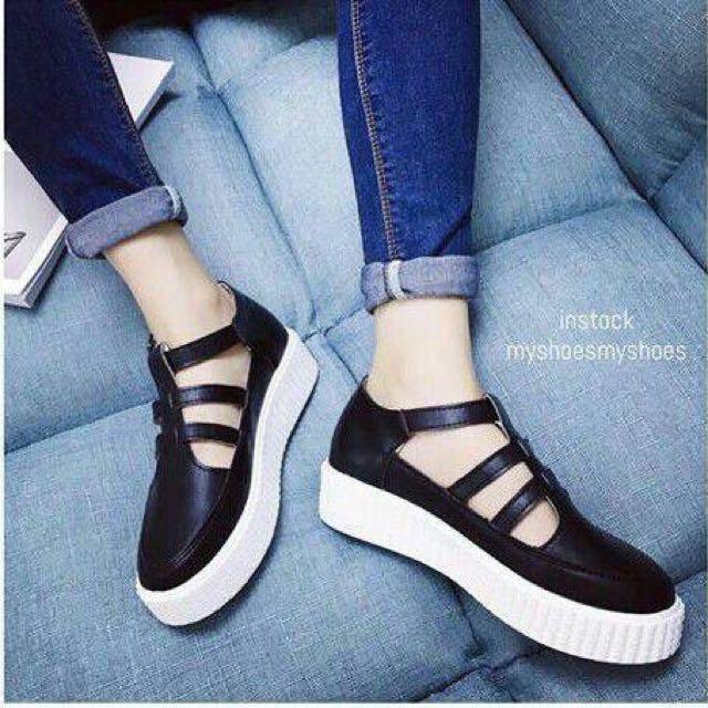 sepatu sendal wedges flat shoes sneakers platform flatform