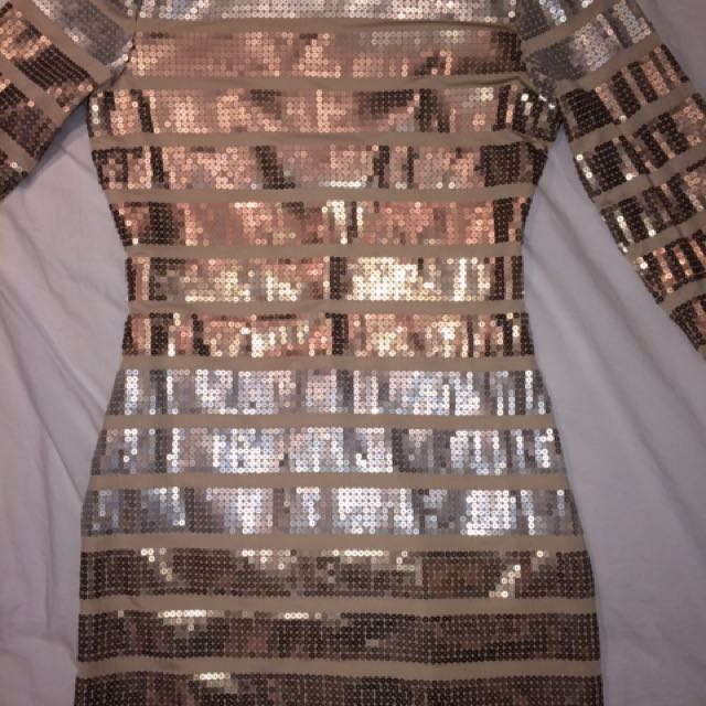 Sequence Nude Body Con Dress