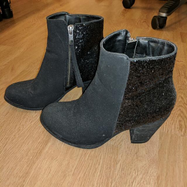 Sequin Black Boots Size 7
