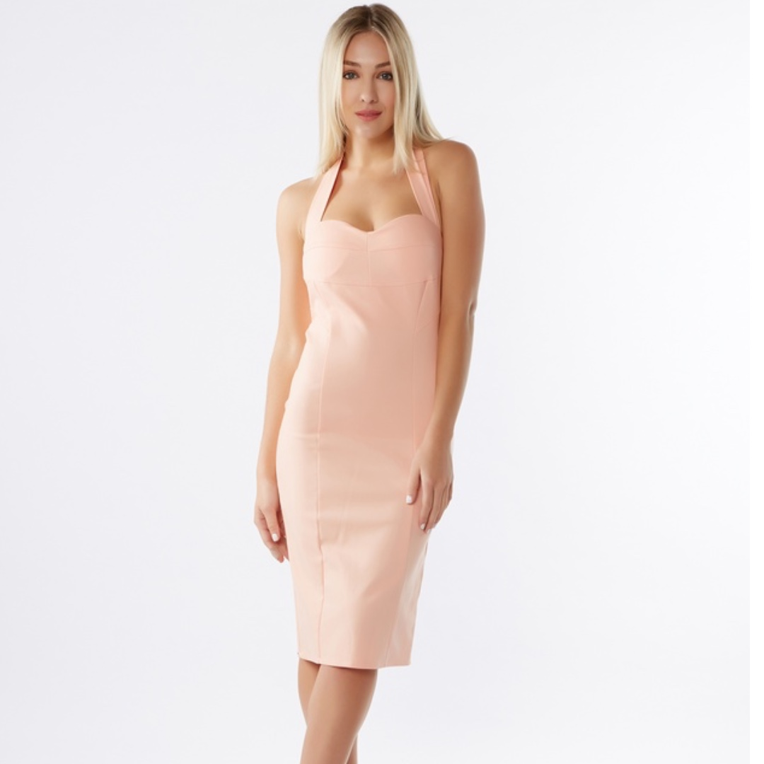 Shareen Collections Nude Halter Dress Size 6