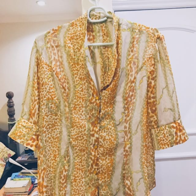 Sheer Vintage Button-up Blouse