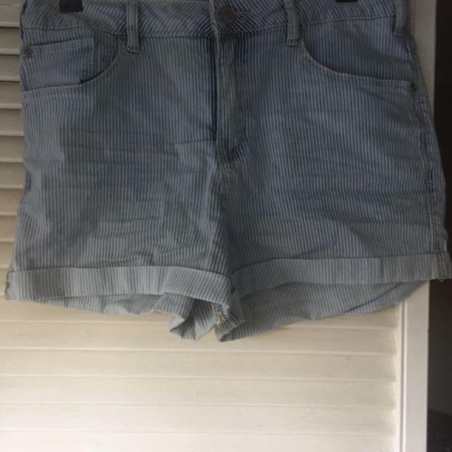 Stripped Denim Shorts
