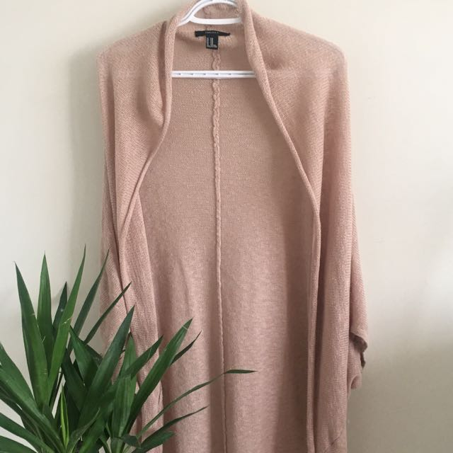 Tan Light Knit Long Cardigan (Forever 21, Size Small)