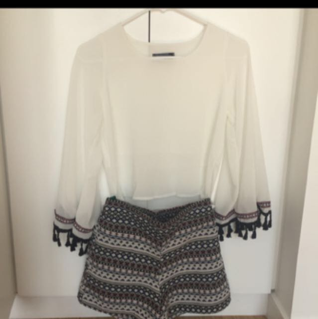 Tassle Blouse And Tribal Shorts