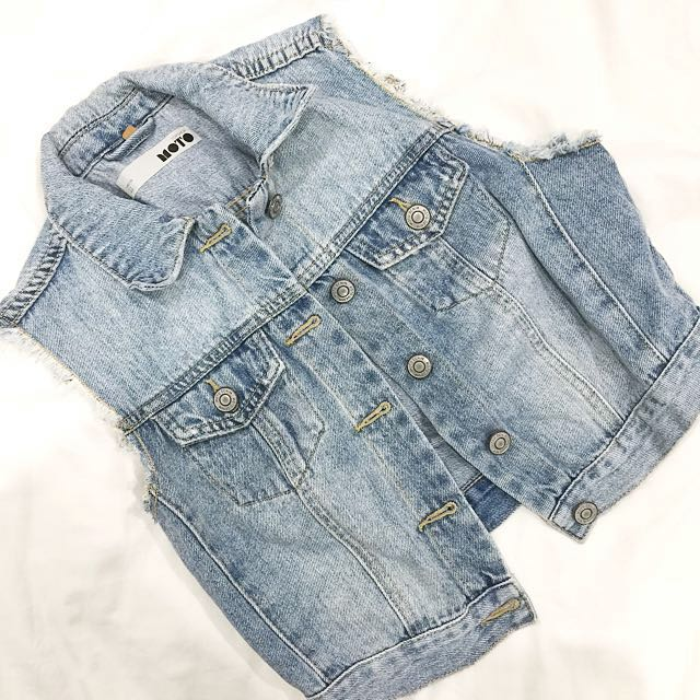 TOPSHOP Moto Denim Cropped Vest