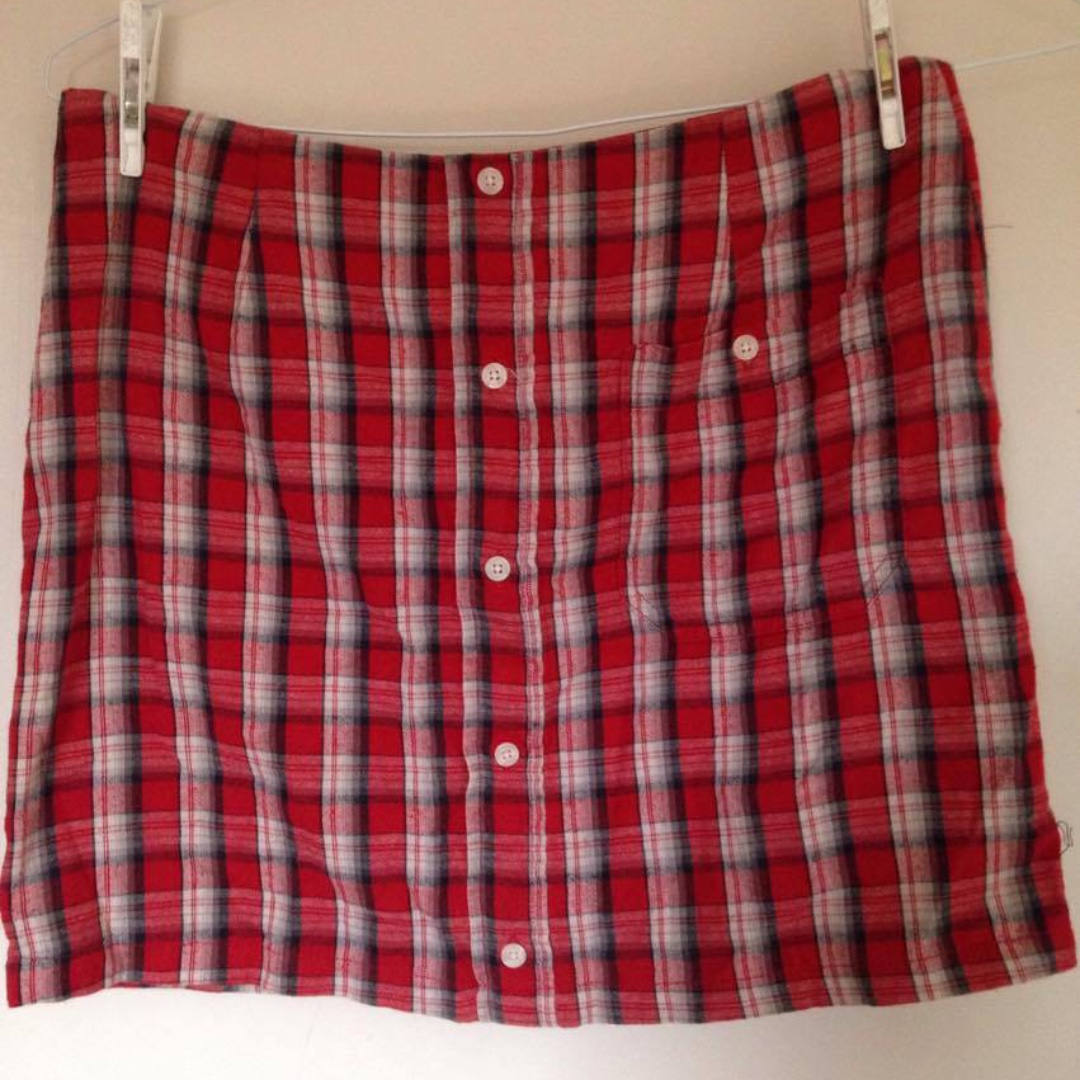 VINTAGE RE-MADE PLAID/FLANNEL SKIRT 10-12