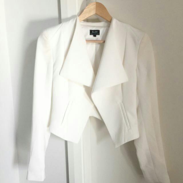 White Bardot Blazer Jacket