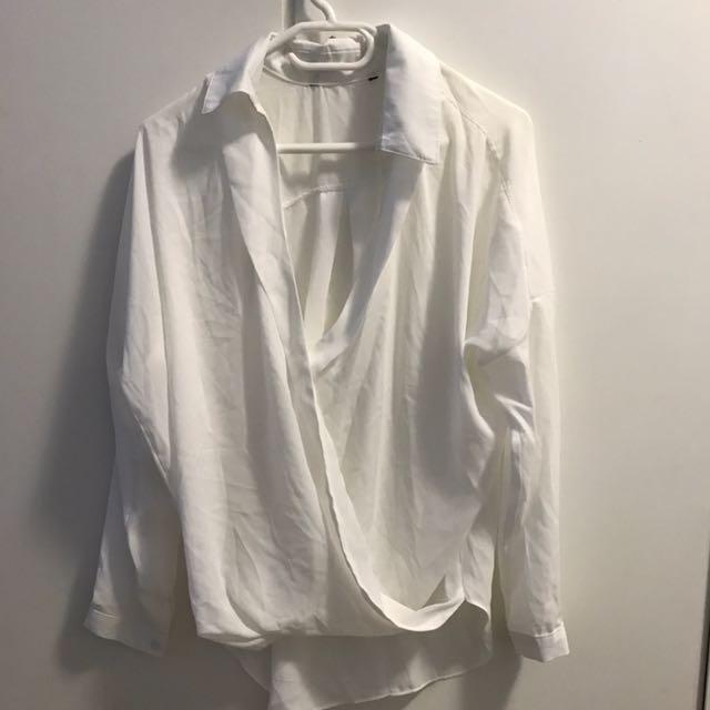 White Drape Blouse