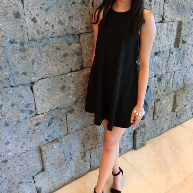 Zara 謝師宴 黑色 削肩洋裝 小禮服