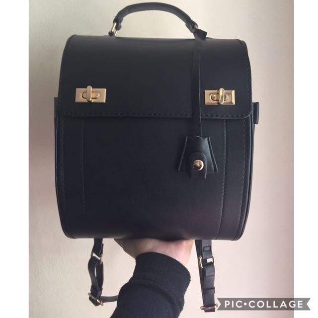 (PRICE REDUCED!) Zara Black Pleather Backpack