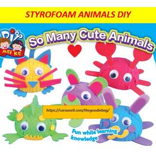 3D Styrofoam animals DIY / art and craft / goodie bag / birthday party pack