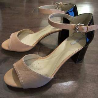 Geox Open Toe Patent Leather Color Block Heels Size 8