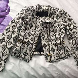 Black And White Patterned H&M Ladies Jacket