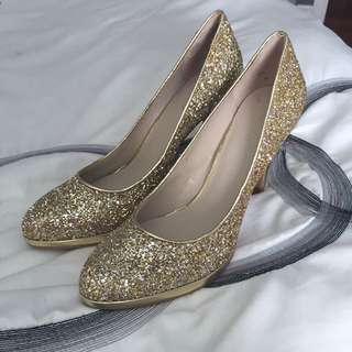 Nine West Gold Sparkly Heels