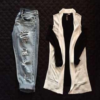 Boy Friend Jeans US SZ 4 & Shoulder Cut Out Cardigan