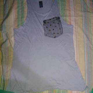 Zara Studded Muscle Shirt Grey