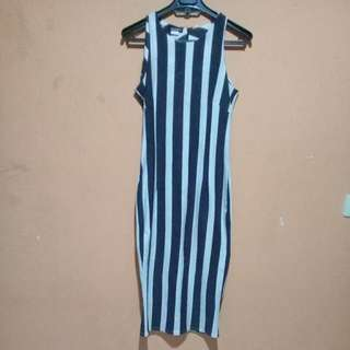 Midi Dress Stripe Bodycon