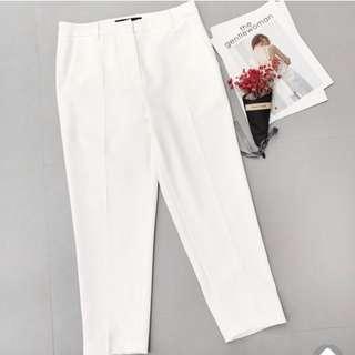 白色高腰休閒褲