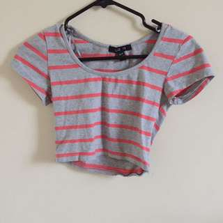 Grey Striped Crop Top