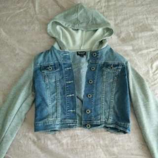 Cropped Denim/sweater Jacket
