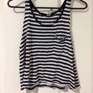 Blue And White Striped Singlet
