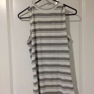White And Grey Striped Singlet